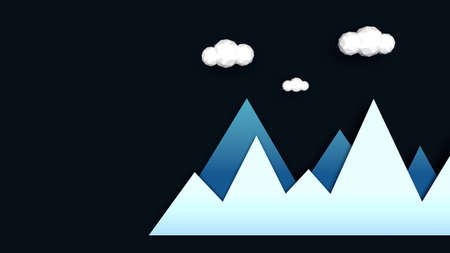 Mountains in winter abstract illustration. Blue gradient mountains with low poly clouds above. Concept of winter landscape in night. Modern and flat style usable as christmas greeting card Фото со стока