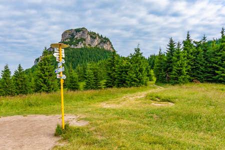 Tourist pointer placed on meadow near Maly Rozsutec mountain in Slovakia national park Mala Fatra.