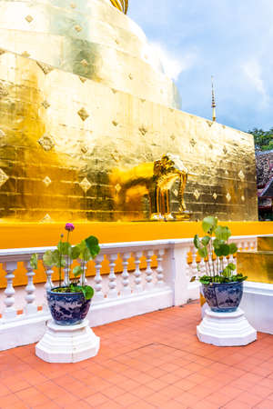 Golden statue of elephant placed on Wat Phra Singh temple in Chiang Mai, Thailand. Beautiful buddhist symbol, famous tourist destination. Ancient sculpture in small parkland. Religion and spirituality