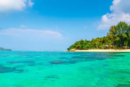 Tropical beach at Ko Lipe island, Thailand. Part of Tarutao national nature park. Beautiful beach, white sand, turquoise sea. Exotic vacation, tropical paradise. Trees and palms on beach. Фото со стока