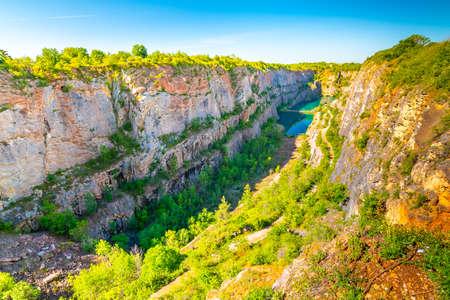 Panoramic view of limestone quarry of Small America (Mala America in czech speak). Czech Republic - Bohemia.