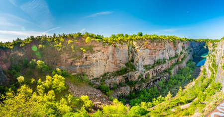 Panoramic view of limestone quarry of Small America (Mala America in czech speak). Czech Republic - Bohemia. Stock Photo