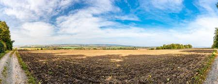 Panoramic view of battlefield near Slavkov city, Czech Republic. Austerlitz battleground during Napoleonic wars in 1805. South Moravia region. Stock fotó