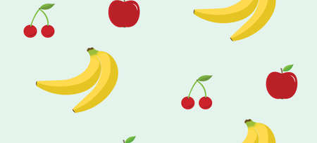 Fruits seamless pattern. Vector flat Illustrations of banana, cherry and apple. Fruit Pattern Background. Vector illustration Illustration