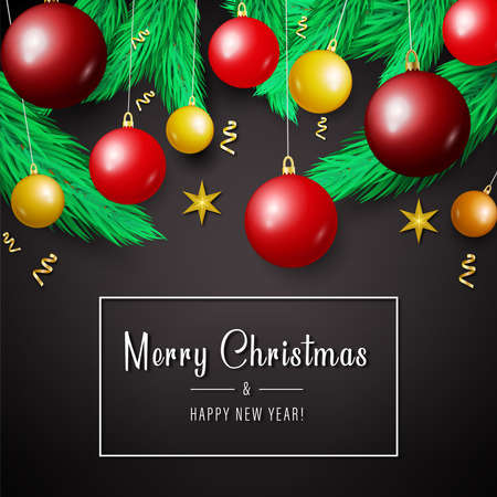 Merry Christmas and New Year background for holiday greeting card, invitation, party flyer, poster, banner