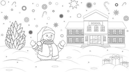 Coloring book for childrens. Snow near the school with school kids. Black and white outline drawing