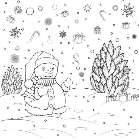 Coloring book for childrens. Snowman with christmas tree. Black and white outline drawing. Happy New Year and Christmas paint. Vector illustration. Иллюстрация