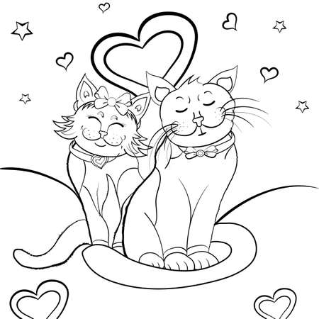 Black and White Valentines Day Cartoon Cats. Vector Illustration of Funny Cats Couple in Love with heart for Coloring Book