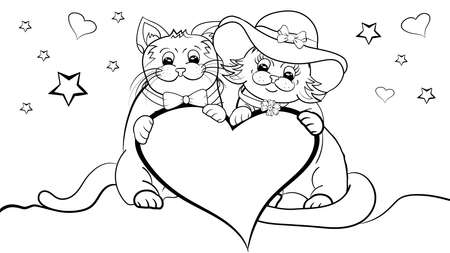 Happy cute Cats Couple in Love coloring book. Black and White Valentines Day Cartoon Cats. Outline Funny Cats Couple in Love with heart. Vector illustration template