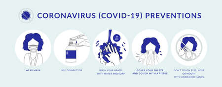 Coronavirus COVID-19 preventions. How to protect yourself from infection, hand washing, wear face mask, use disinfectant, and avoid other people. Idea for coronavirus outbreak and preventions.