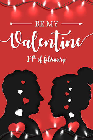 Origami Paper art of couple in love stands opposite each other with Be My Valentine and 14th February lettering on red background with bright garland. Vector illustration