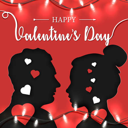 Happy Valentine's Day Origami Paper Art of couple in love stands opposite each other. 14th February lettering on red background with bright garland. Vector illustration