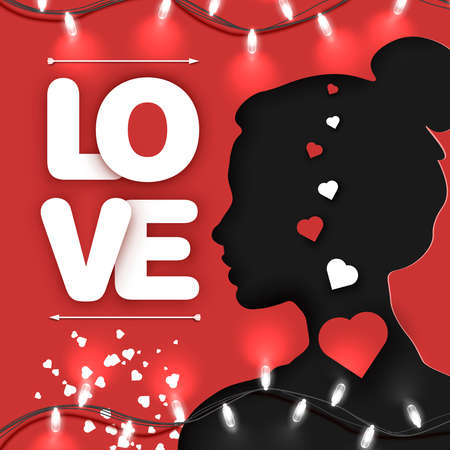Paper cut style of Love calligraphy and shape of woman or young girl in love, on red background. 14th of February, Valentine's day concept. Vector art and illustration