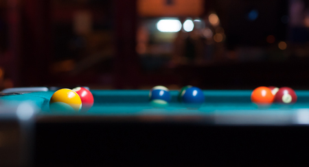 snooker: Close up of snooker balls on snooker table. Stock Photo