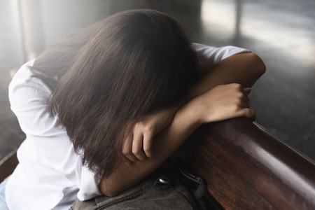 Sadness, Exhausted, Tired, Illness of Young Asian Backpacker Woman.