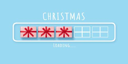 2020, Christmas, New Year, Downloading, Loading bar with pink gift boxes and red ribbons on blue isolated background