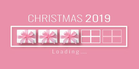 Christmas, New Year, Downloading, Loading bar with gift boxes on pink isolated background.