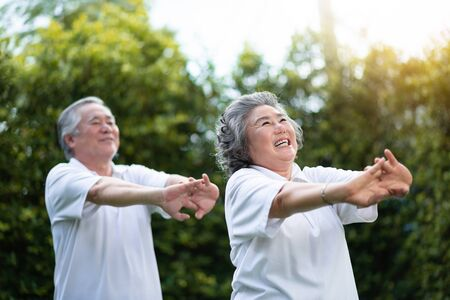 Happy Asian senior couple stretching hands before exercise at park outdoor. Smiling People in white shirts.