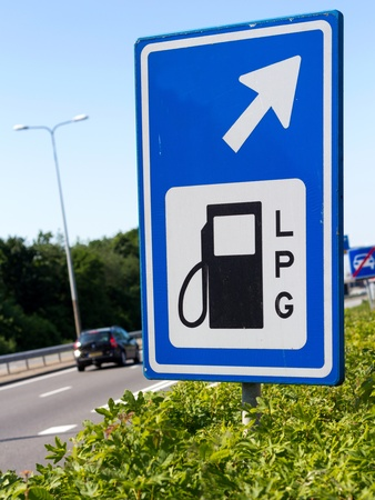 LPG filling station road sign along a Dutch highway photo
