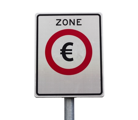 Entry to the Euro zone road sign photo