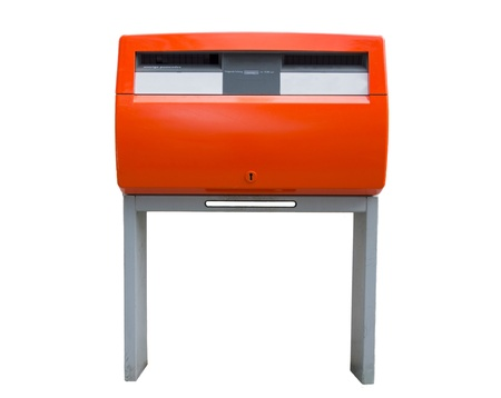 Isolated orange public mailbox with two slots, common in the Netherlands photo