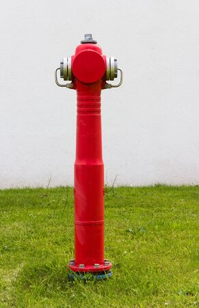 Red fire hydrant in front of a building standing in the grass photo