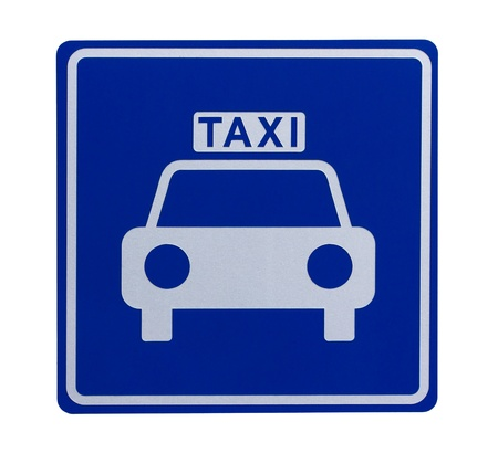 Road sign indicating a taxicab stand or taxi rank photo