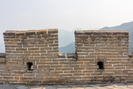 barrier: Detail of the Great Chinese Wall at the Mutuanyu section