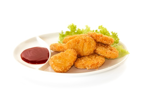 Plate of chicken nuggets with dip sauce, isolated on white background Stock Photo - 15886633