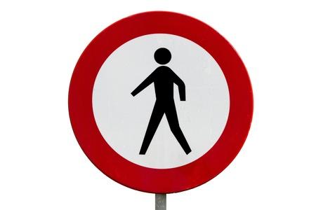 trespassing: Round prohibitory road sign: no pedestrians Stock Photo
