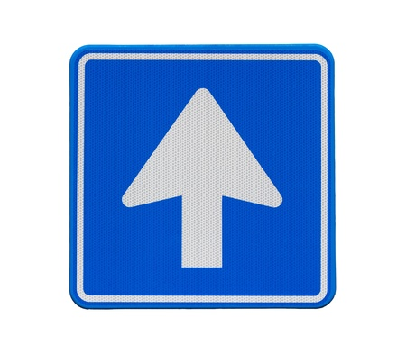 Blue square road sign: one way traffic photo