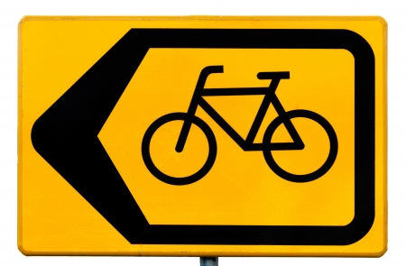 diversion: Yellow rectangular road sign for cyclists indicating a traffic diversion
