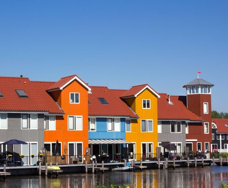 Colored houses with pier in Scandinavian style Stock Photo - 16585929