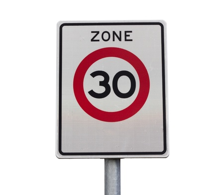 Zone 30 km h speed limit road sign photo