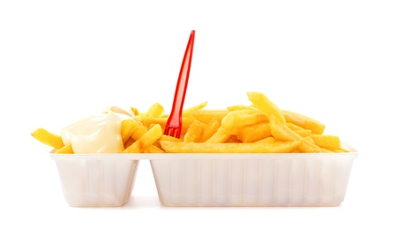 cafeteria tray: Portion of French fries with mayonnaise and plastic fork in disposable tray