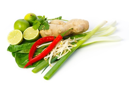 Still life of Asian ingredients and seasonings against white background Stock Photo - 17831401