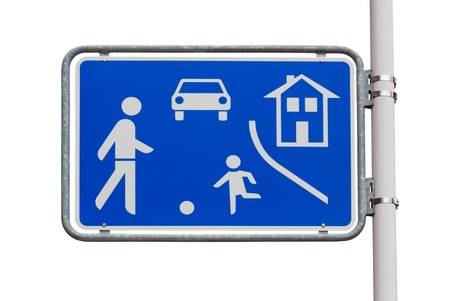 zones: Home zone entry road sign on white background