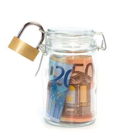 protrude: Euro banknotes in sealed jar with padlock against white background