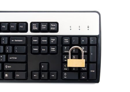 Computer keyboard with padlock for secure transactions against white background photo