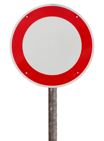 No vehicles traffic sign against white background photo