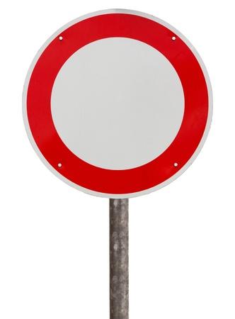 Pas de véhicules panneau de signalisation sur fond blanc Banque d'images