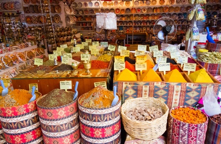 souvenir traditional: Various spices and herbs at a Turkish shop