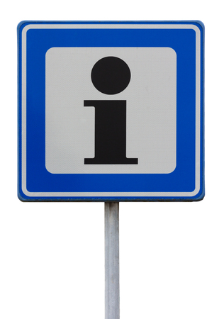 Road sign indicating an information point against white background photo