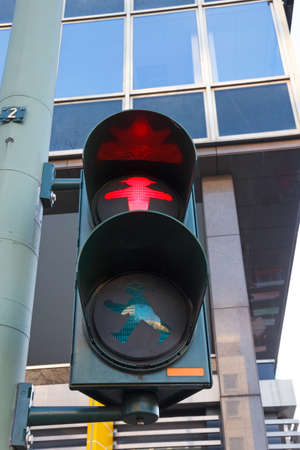 Characteristic Berlin pedestrian light with red signal