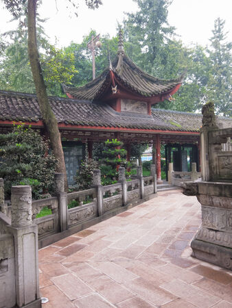 rooftiles: Perspective in Chinese Buddhist temple, Wenshu Monastery, Chengdu, China
