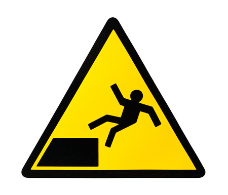 steep cliffs sign: Yellow triangular sign warning for risk of falling