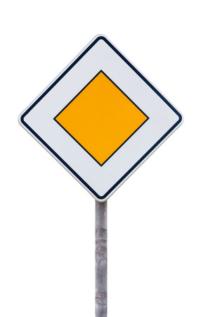European priority road sign against white background