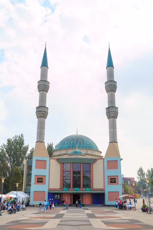 ROTTERDAM, NETHERLANDS - September 21: Mevlana moskee in Rotterdam for the Turkish-Dutch community on 21 September 2014. The mosque has two minarets of 42 meters high and a copper-clad dome.