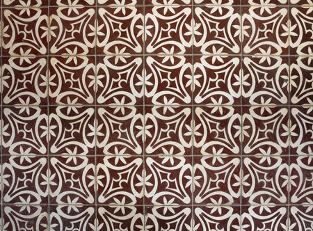 mediterranean interior: Top view tiled floor with brown Mediterranean decorations Stock Photo