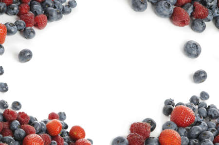 rosoideae: berry mixture.Strawberries, blueberries and raspberries isolated on white background. Studi recording